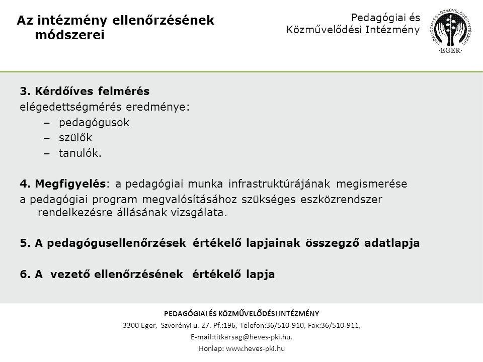 PEDAGÓGIAI ÉS KÖZMŰVELŐDÉSI INTÉZMÉNY 3300 Eger, Szvorényi u. 27. Pf.:196, Telefon:36/510-910, Fax:36/510-911, E-mail:titkarsag@heves-pki.hu, Honlap: