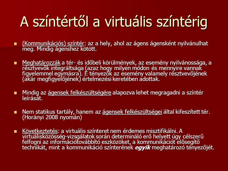 """Kérdések a virtuális színtérről Az előbb vázolt felfogás tükrében melyek a jellemzői a """"virtuális világnak mint sajátos kommunikációs színtérnek."""