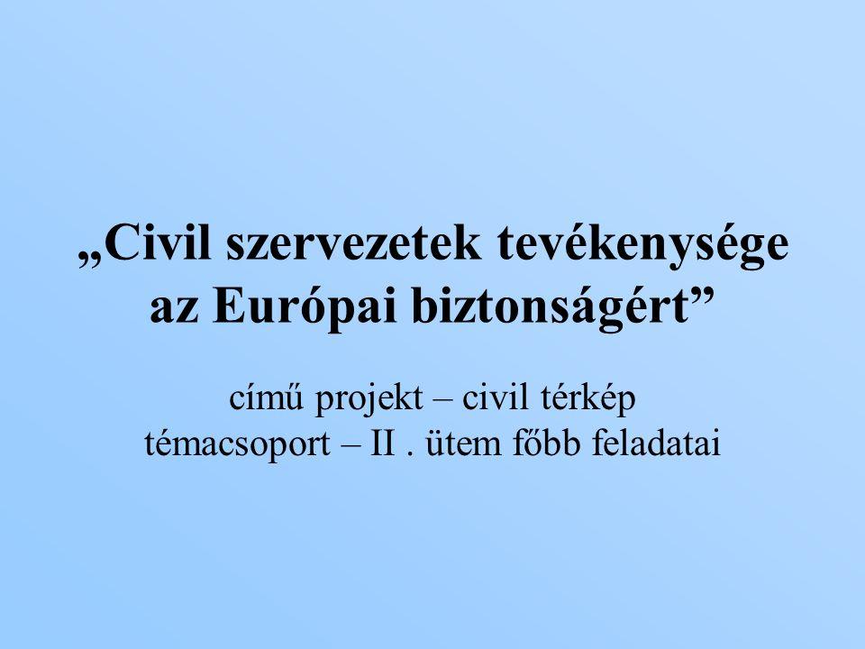 """""""Civil szervezetek tevékenysége az Európai biztonságért című projekt – civil térkép témacsoport – II."""