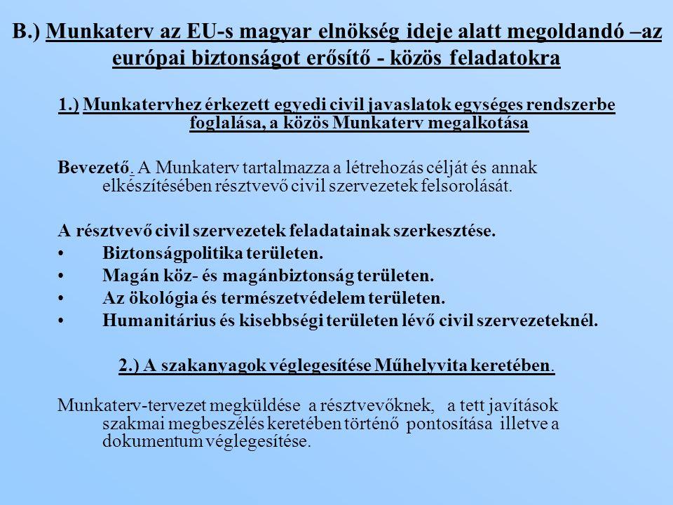 1.) Munkatervhez érkezett egyedi civil javaslatok egységes rendszerbe foglalása, a közös Munkaterv megalkotása Bevezető.