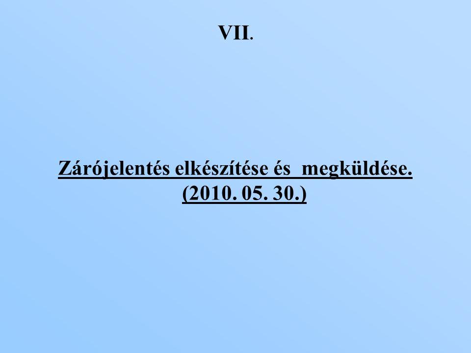VII. Zárójelentés elkészítése és megküldése. (2010. 05. 30.)