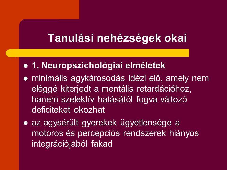 Tanulási nehézségek okai 1. Neuropszichológiai elméletek minimális agykárosodás idézi elő, amely nem eléggé kiterjedt a mentális retardációhoz, hanem
