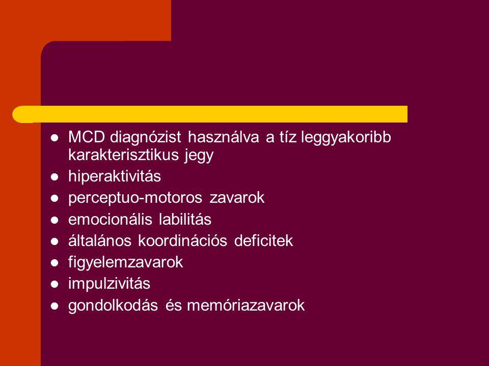 MCD diagnózist használva a tíz leggyakoribb karakterisztikus jegy hiperaktivitás perceptuo-motoros zavarok emocionális labilitás általános koordinációs deficitek figyelemzavarok impulzivitás gondolkodás és memóriazavarok