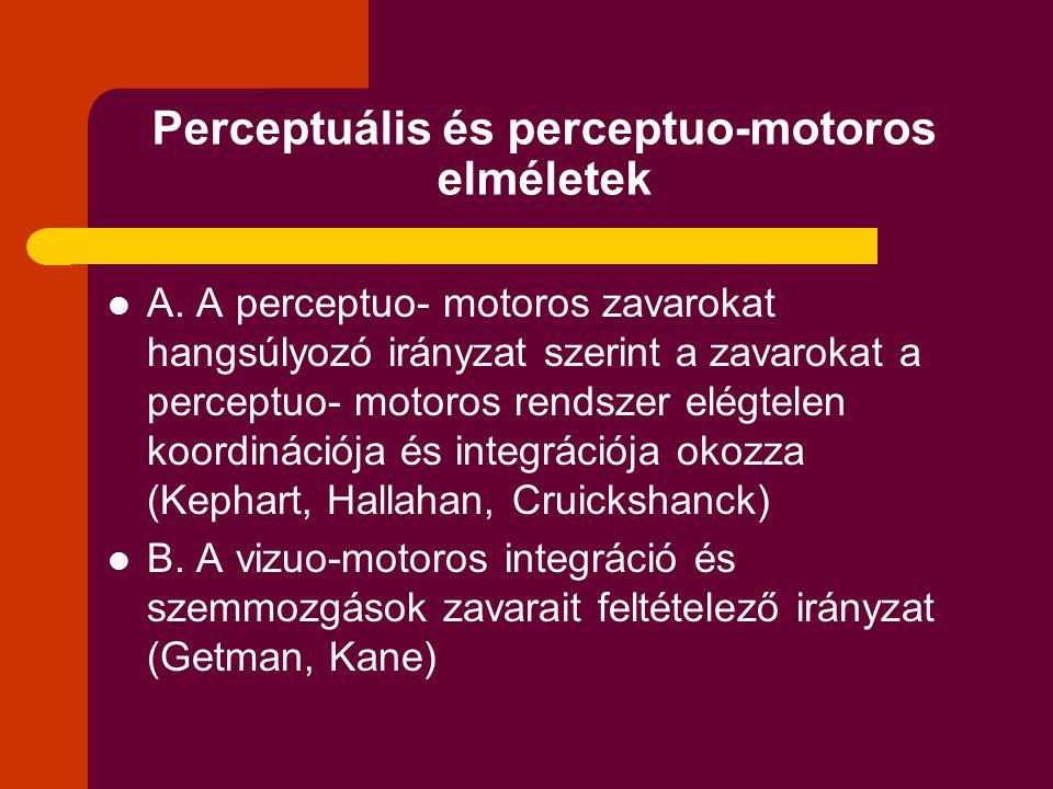 Perceptuális és perceptuo-motoros elméletek A. A perceptuo- motoros zavarokat hangsúlyozó irányzat szerint a zavarokat a perceptuo- motoros rendszer e