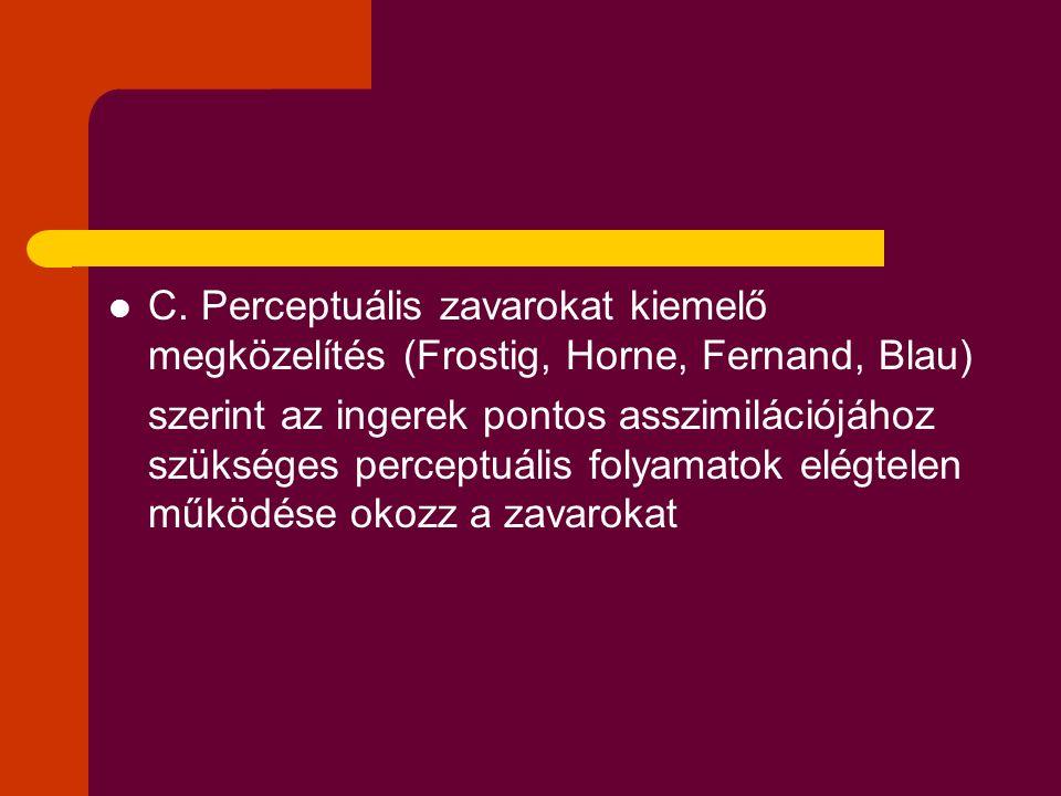 C. Perceptuális zavarokat kiemelő megközelítés (Frostig, Horne, Fernand, Blau) szerint az ingerek pontos asszimilációjához szükséges perceptuális foly