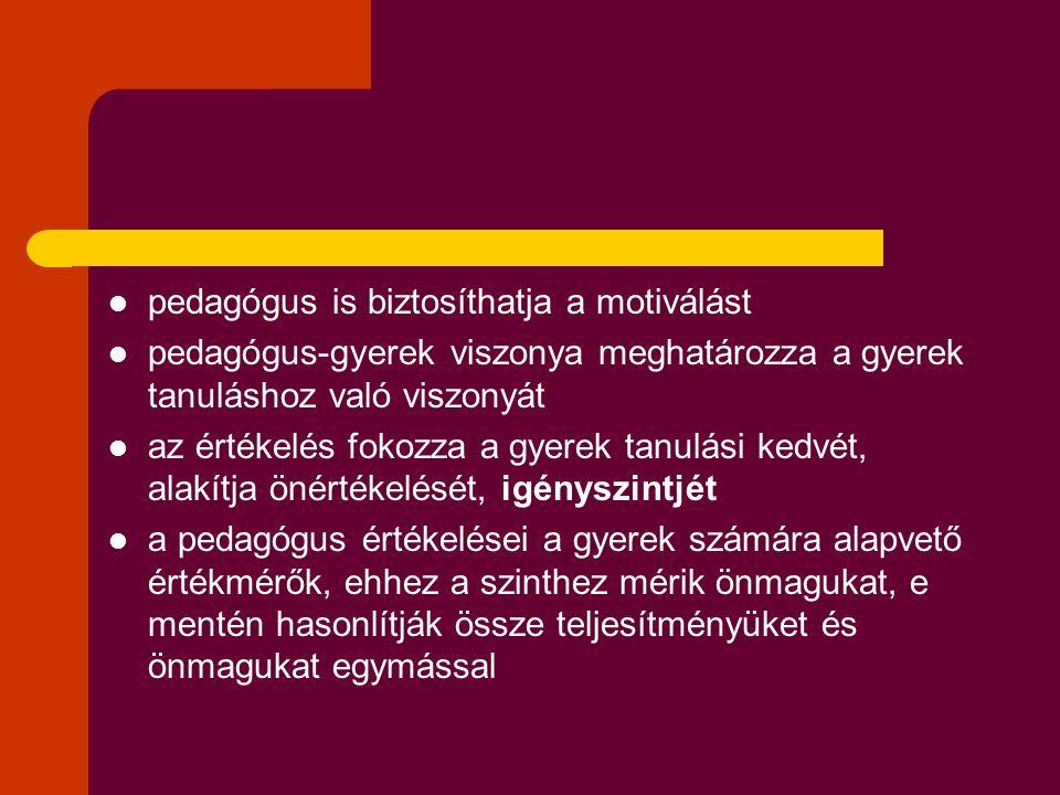 pedagógus is biztosíthatja a motiválást pedagógus-gyerek viszonya meghatározza a gyerek tanuláshoz való viszonyát az értékelés fokozza a gyerek tanulási kedvét, alakítja önértékelését, igényszintjét a pedagógus értékelései a gyerek számára alapvető értékmérők, ehhez a szinthez mérik önmagukat, e mentén hasonlítják össze teljesítményüket és önmagukat egymással