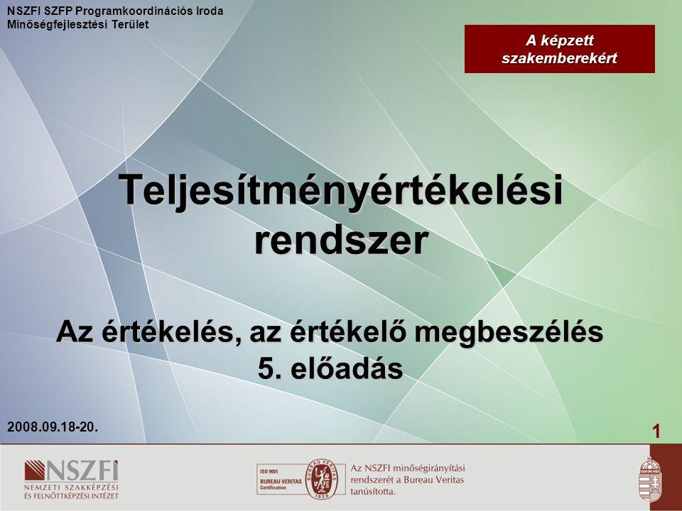 2 2008.09.18-20.NSZFI SZFP Programkoordinációs Iroda Minőségfejlesztési Terület Ki értékeljen.