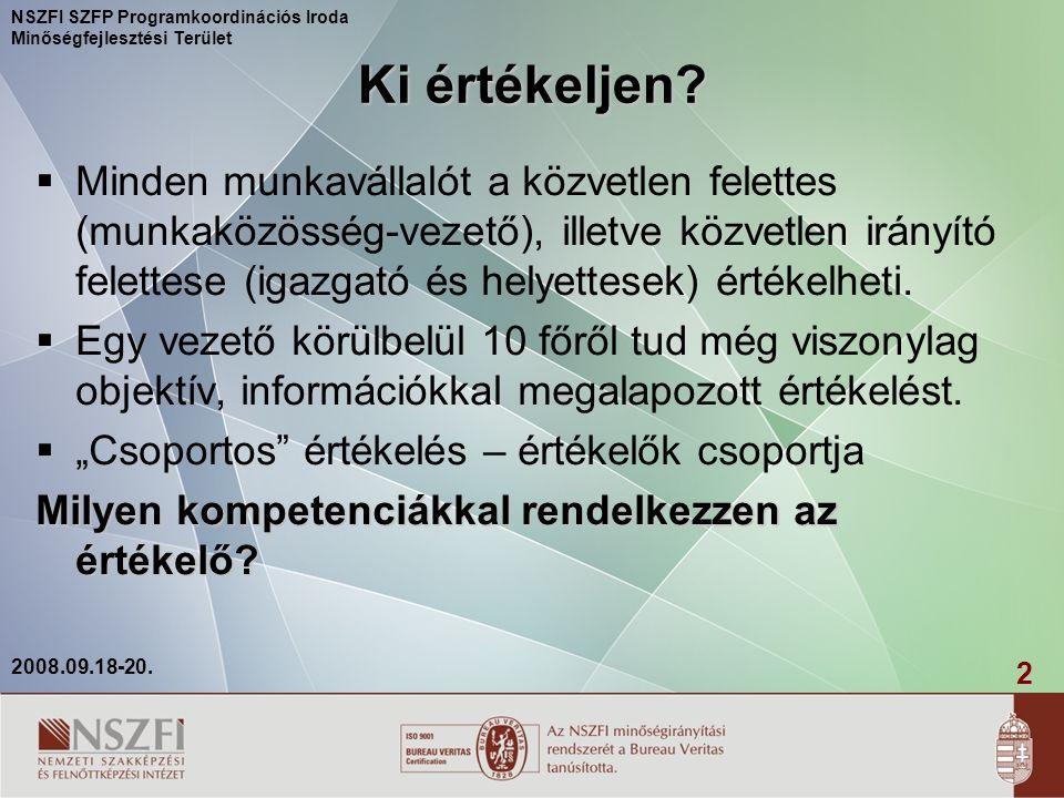 2 2008.09.18-20. NSZFI SZFP Programkoordinációs Iroda Minőségfejlesztési Terület Ki értékeljen.