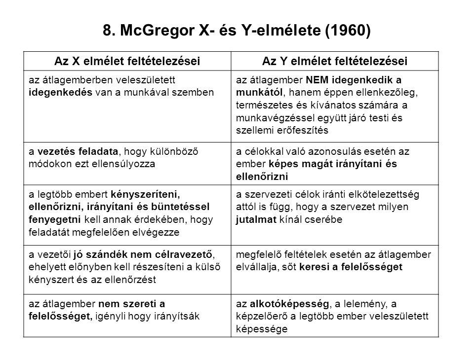 8. McGregor X- és Y-elmélete (1960) Az X elmélet feltételezéseiAz Y elmélet feltételezései az átlagemberben veleszületett idegenkedés van a munkával s