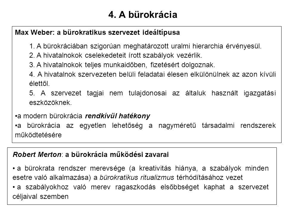 4. A bürokrácia Max Weber: a bürokratikus szervezet ideáltípusa 1.
