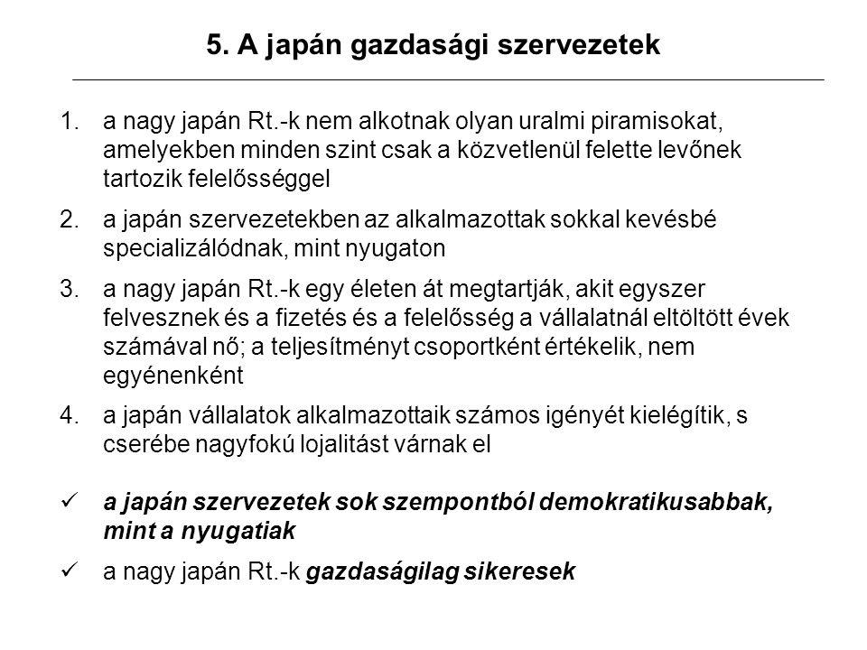 5. A japán gazdasági szervezetek 1.a nagy japán Rt.-k nem alkotnak olyan uralmi piramisokat, amelyekben minden szint csak a közvetlenül felette levőne