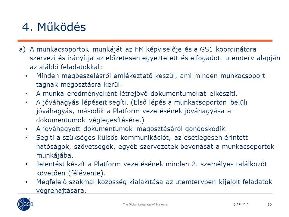 © GS1 2015 16 a)A munkacsoportok munkáját az FM képviselője és a GS1 koordinátora szervezi és irányítja az előzetesen egyeztetett és elfogadott ütemterv alapján az alábbi feladatokkal: Minden megbeszélésről emlékeztető készül, ami minden munkacsoport tagnak megosztásra kerül.