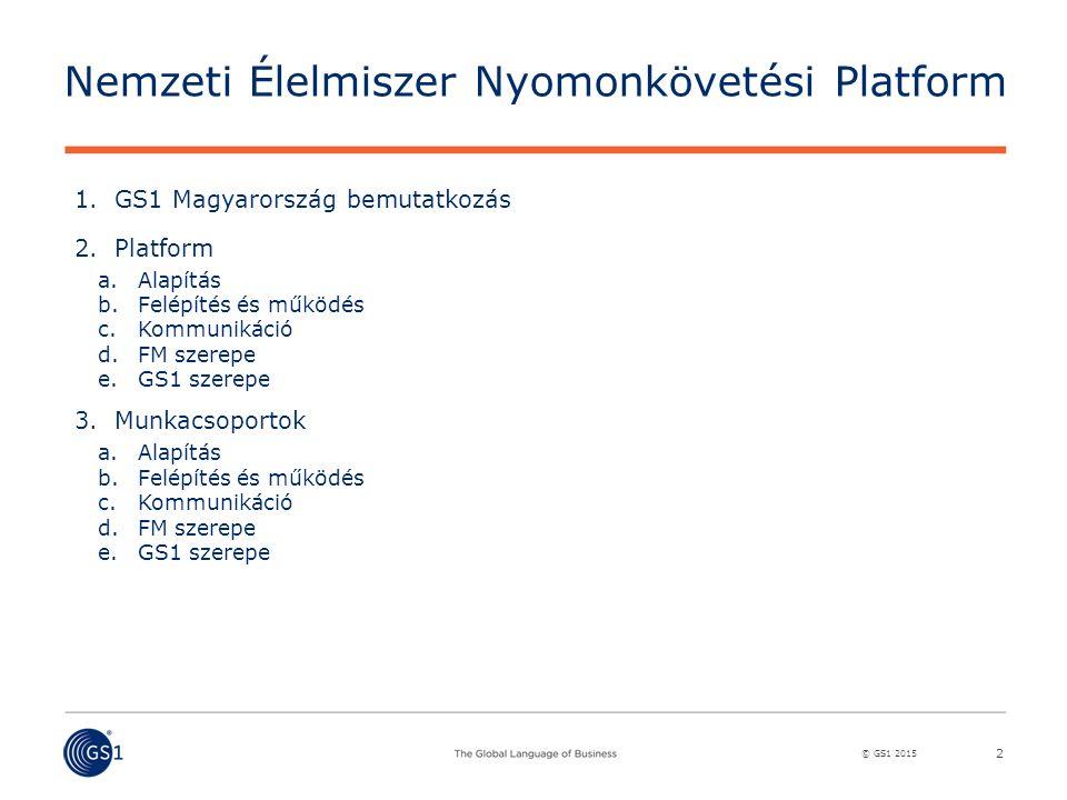 © GS1 2015 Nemzeti Élelmiszer Nyomonkövetési Platform 1.GS1 Magyarország bemutatkozás 2.Platform a.Alapítás b.Felépítés és működés c.Kommunikáció d.FM szerepe e.GS1 szerepe 3.Munkacsoportok a.Alapítás b.Felépítés és működés c.Kommunikáció d.FM szerepe e.GS1 szerepe 2