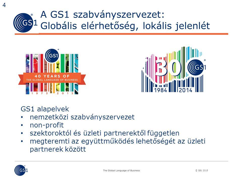 © GS1 2015 A GS1 szabványszervezet: Globális elérhetőség, lokális jelenlét GS1 alapelvek nemzetközi szabványszervezet non-profit szektoroktól és üzleti partnerektől független megteremti az együttműködés lehetőségét az üzleti partnerek között 4