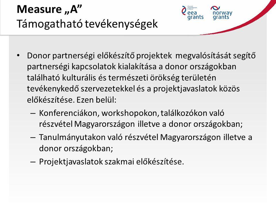 """Measure """"A Támogatható tevékenységek Donor partnerségi előkészítő projektek megvalósítását segítő partnerségi kapcsolatok kialakítása a donor országokban található kulturális és természeti örökség területén tevékenykedő szervezetekkel és a projektjavaslatok közös előkészítése."""