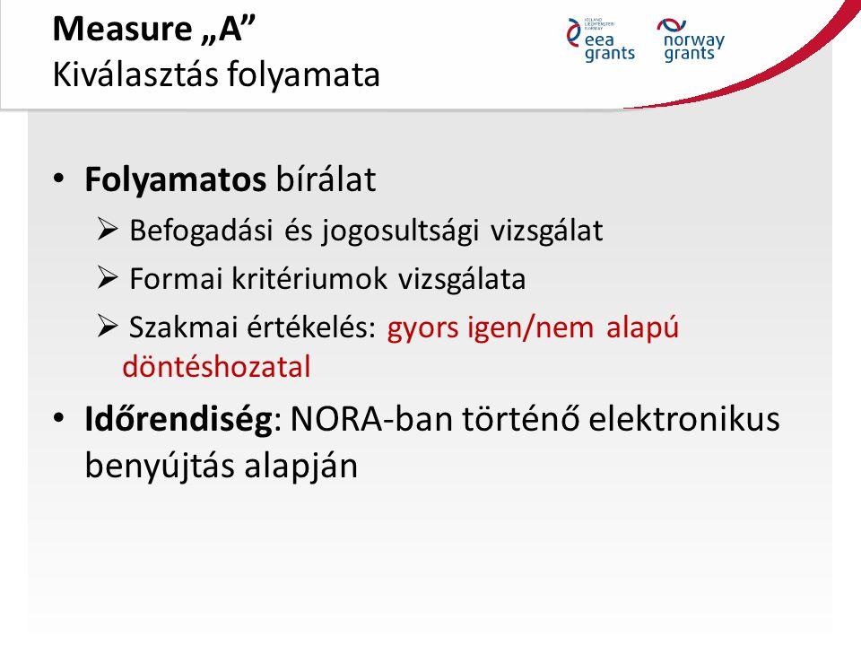 """Measure """"A Kiválasztás folyamata Folyamatos bírálat  Befogadási és jogosultsági vizsgálat  Formai kritériumok vizsgálata  Szakmai értékelés: gyors igen/nem alapú döntéshozatal Időrendiség: NORA-ban történő elektronikus benyújtás alapján"""