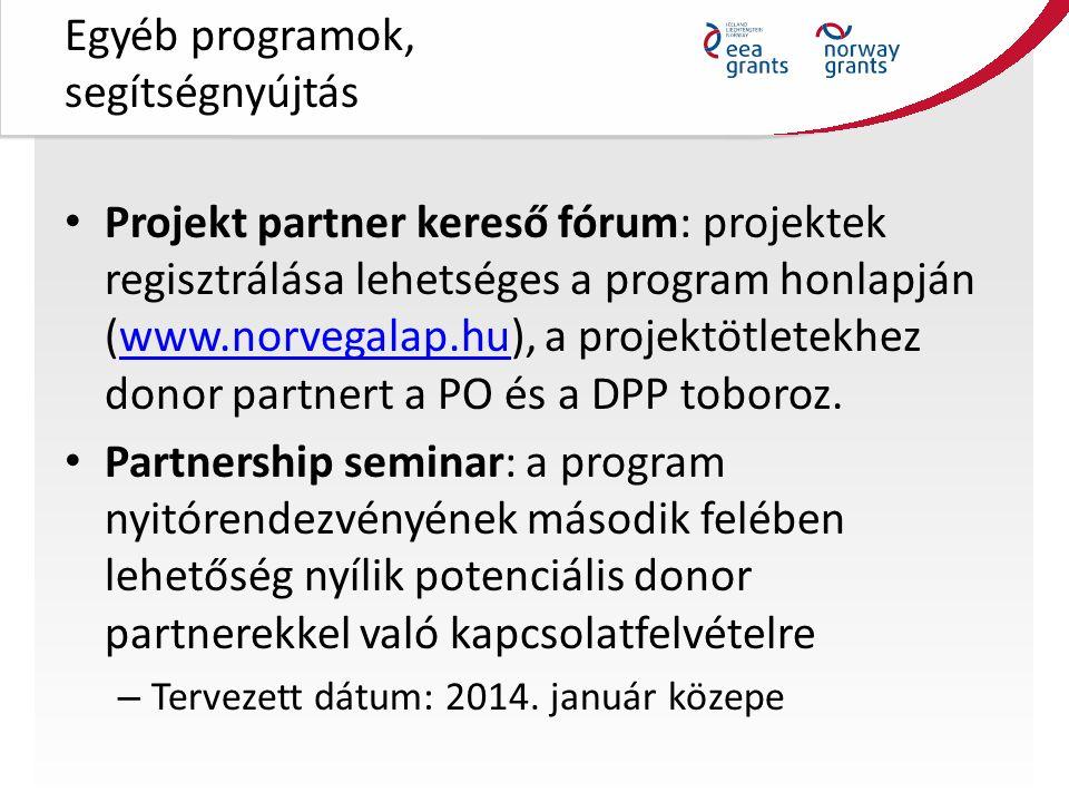 Egyéb programok, segítségnyújtás Projekt partner kereső fórum: projektek regisztrálása lehetséges a program honlapján (www.norvegalap.hu), a projektötletekhez donor partnert a PO és a DPP toboroz.www.norvegalap.hu Partnership seminar: a program nyitórendezvényének második felében lehetőség nyílik potenciális donor partnerekkel való kapcsolatfelvételre – Tervezett dátum: 2014.
