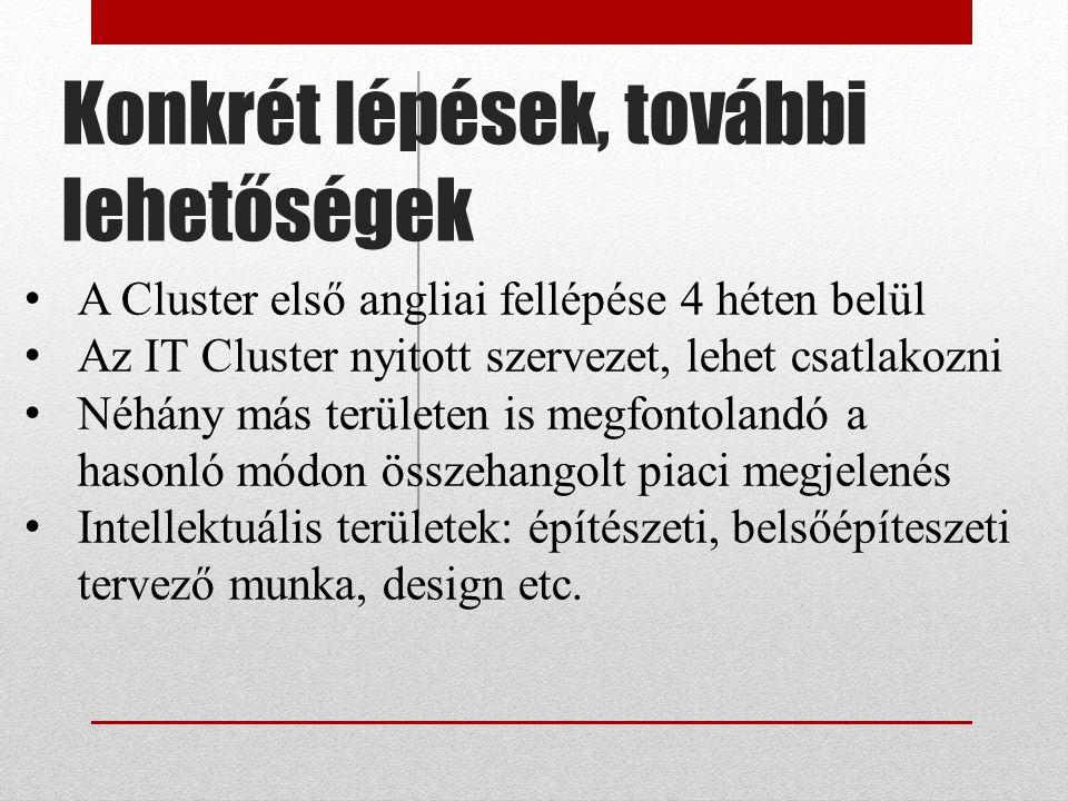 Konkrét lépések, további lehetőségek A Cluster első angliai fellépése 4 héten belül Az IT Cluster nyitott szervezet, lehet csatlakozni Néhány más területen is megfontolandó a hasonló módon összehangolt piaci megjelenés Intellektuális területek: építészeti, belsőépíteszeti tervező munka, design etc.