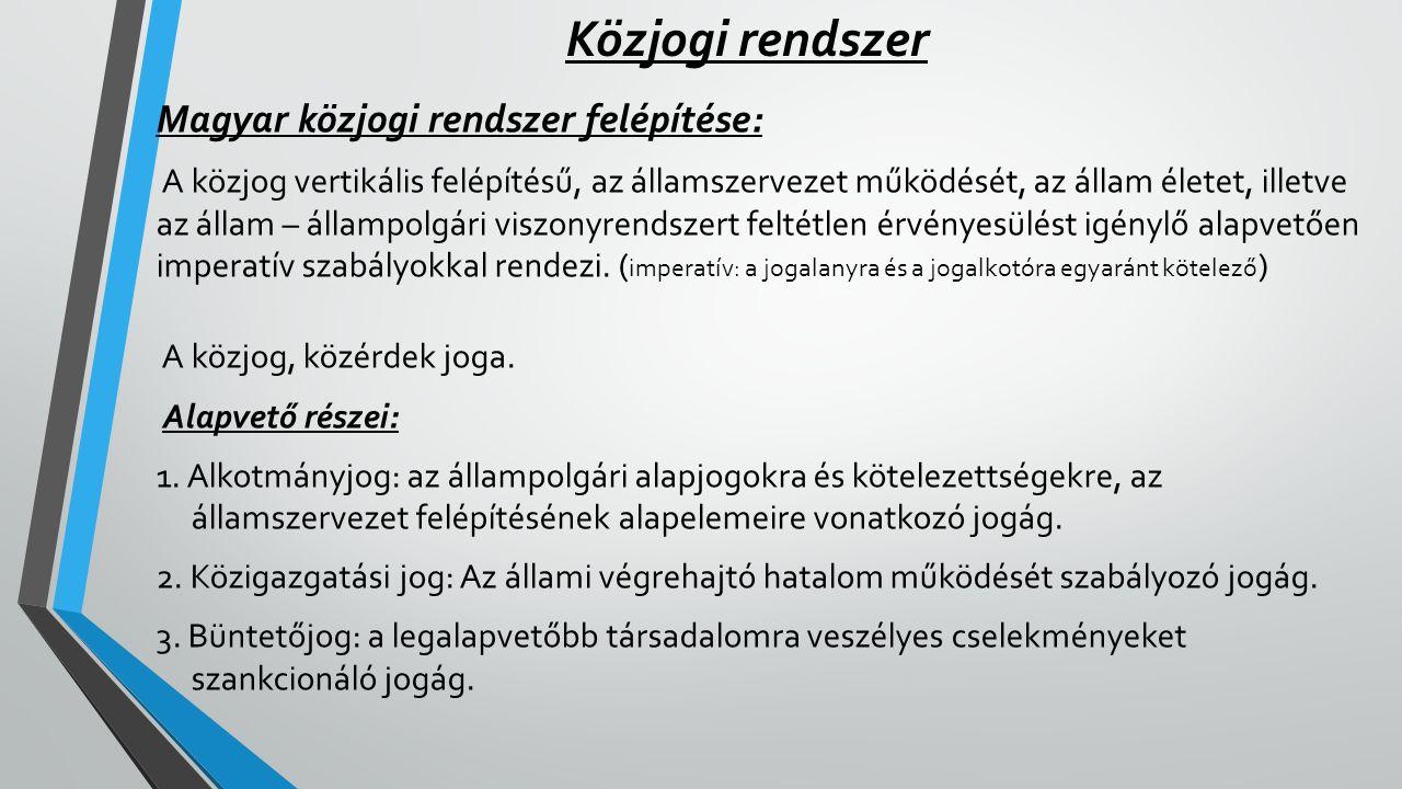 Közjogi rendszer Magyar közjogi rendszer felépítése: A közjog vertikális felépítésű, az államszervezet működését, az állam életet, illetve az állam –