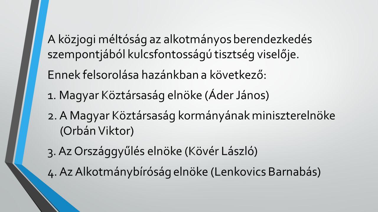 A közjogi méltóság az alkotmányos berendezkedés szempontjából kulcsfontosságú tisztség viselője. Ennek felsorolása hazánkban a következő: 1. Magyar Kö