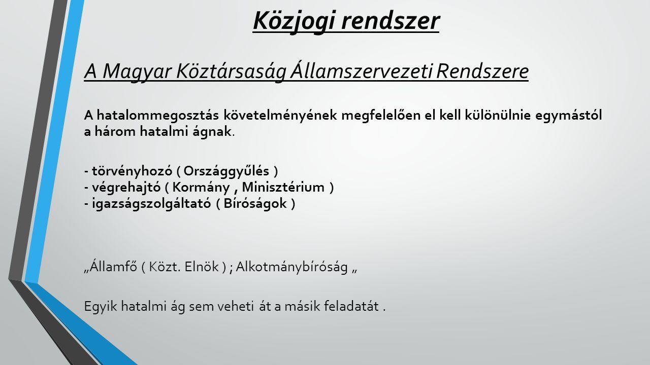 Közjogi rendszer A Magyar Köztársaság Államszervezeti Rendszere A hatalommegosztás követelményének megfelelően el kell különülnie egymástól a három ha
