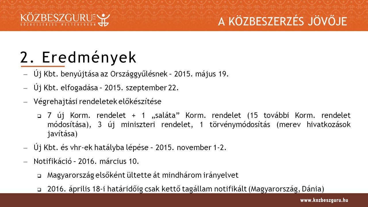 A KÖZBESZERZÉS JÖVŐJE 2. Eredmények  Új Kbt. benyújtása az Országgyűlésnek – 2015.