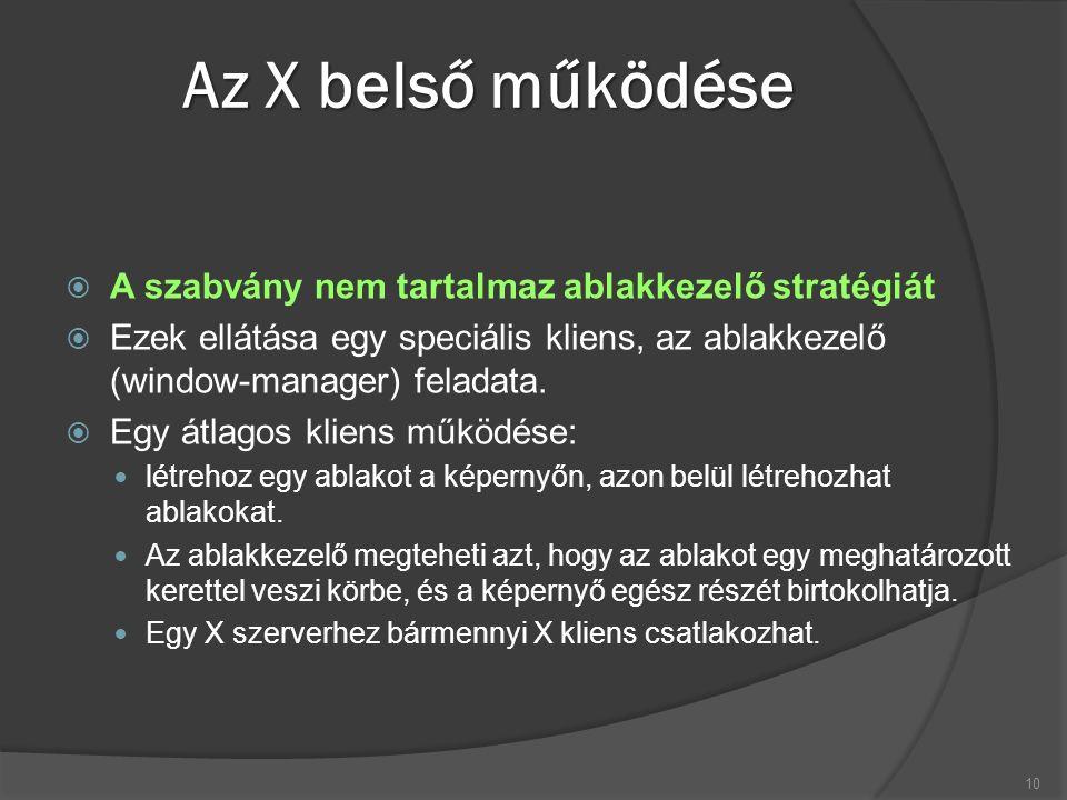 Az X belső működése  A szabvány nem tartalmaz ablakkezelő stratégiát  Ezek ellátása egy speciális kliens, az ablakkezelő (window-manager) feladata.