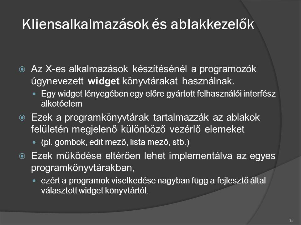 Kliensalkalmazások és ablakkezelők  Az X-es alkalmazások készítésénél a programozók úgynevezett widget könyvtárakat használnak.