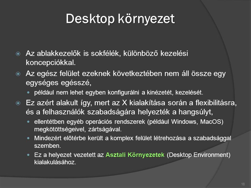 Desktop környezet  Az ablakkezelők is sokfélék, különböző kezelési koncepciókkal.