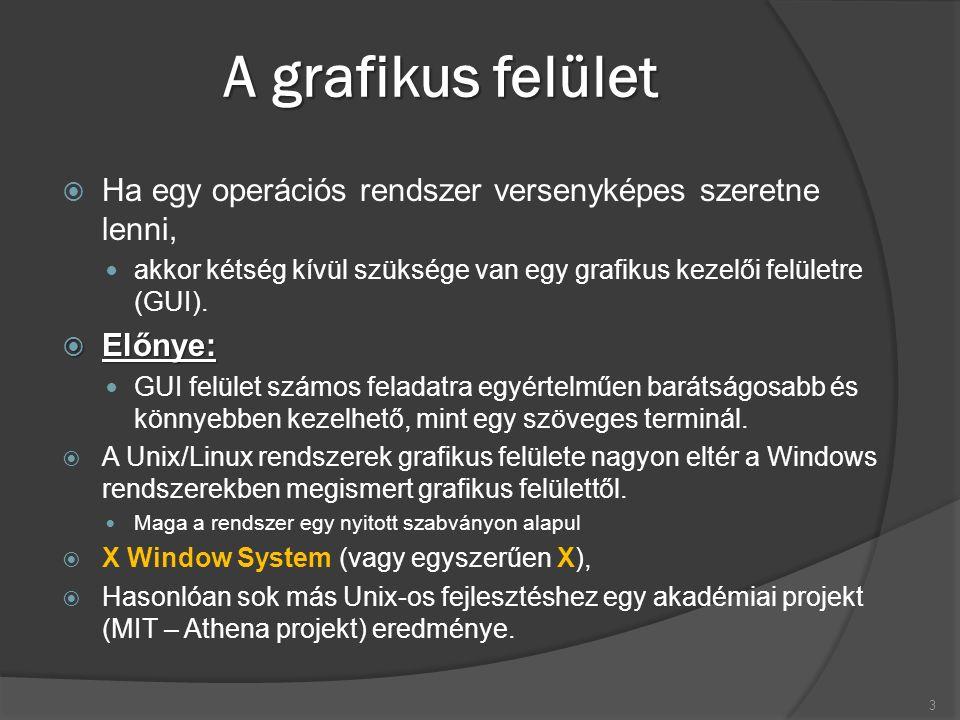 Az X Window System röviden  Az X szabványt az X Consortium (http://www.x.org) vezeti  Nagyon sok operációs rendszerre írtak X megvalósítást sok programcsomag látott napvilágot ezen szabvány alapján.