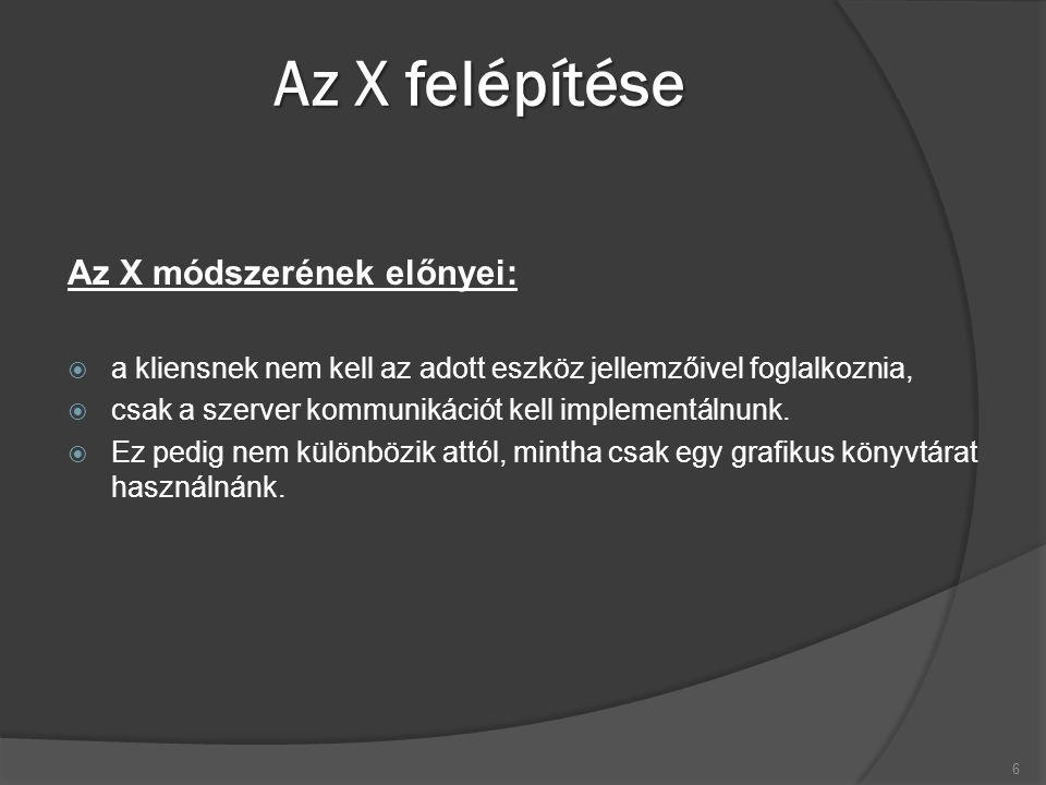 Az X belső működése  Az X protokoll (Xlib implementációja) aszinkron:  Az Xlib a kéréseket egy belső adatbufferben időlegesen eltárolja, nem küldi egyből a szervernek (ezzel is csökkentve a hálózati forgalmat).