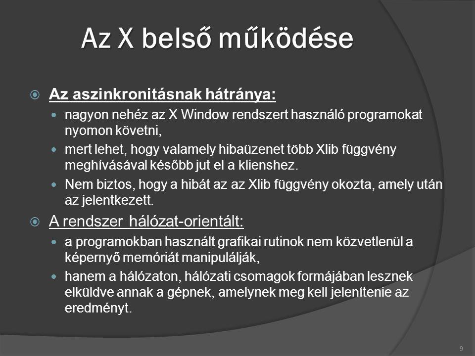 Az X belső működése  Az aszinkronitásnak hátránya: nagyon nehéz az X Window rendszert használó programokat nyomon követni, mert lehet, hogy valamely hibaüzenet több Xlib függvény meghívásával később jut el a klienshez.