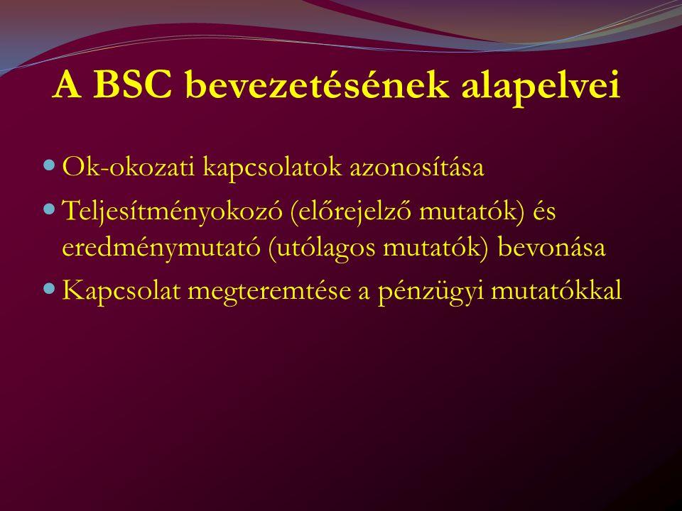 A BSC bevezetésének alapelvei Ok-okozati kapcsolatok azonosítása Teljesítményokozó (előrejelző mutatók) és eredménymutató (utólagos mutatók) bevonása Kapcsolat megteremtése a pénzügyi mutatókkal