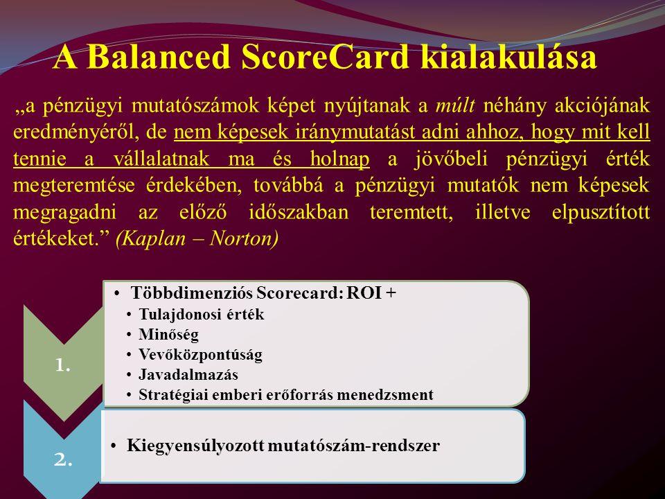 """""""a pénzügyi mutatószámok képet nyújtanak a múlt néhány akciójának eredményéről, de nem képesek iránymutatást adni ahhoz, hogy mit kell tennie a vállalatnak ma és holnap a jövőbeli pénzügyi érték megteremtése érdekében, továbbá a pénzügyi mutatók nem képesek megragadni az előző időszakban teremtett, illetve elpusztított értékeket. (Kaplan – Norton) A Balanced ScoreCard kialakulása 1."""