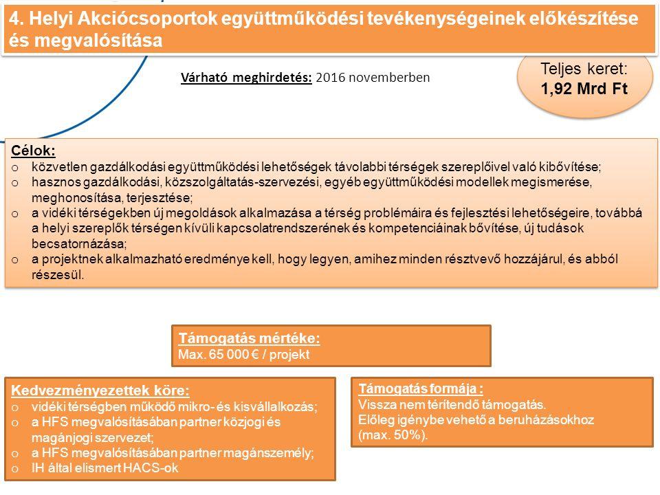 4. Helyi Akciócsoportok együttműködési tevékenységeinek előkészítése és megvalósítása 4.