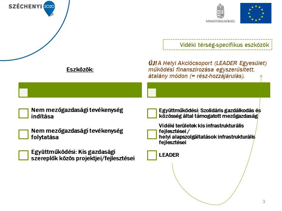 3 Eszközök: Nem mezőgazdasági tevékenység indítása Nem mezőgazdasági tevékenység folytatása Együttműködési: Kis gazdasági szereplők közös projektjei/fejlesztései ÚJ.