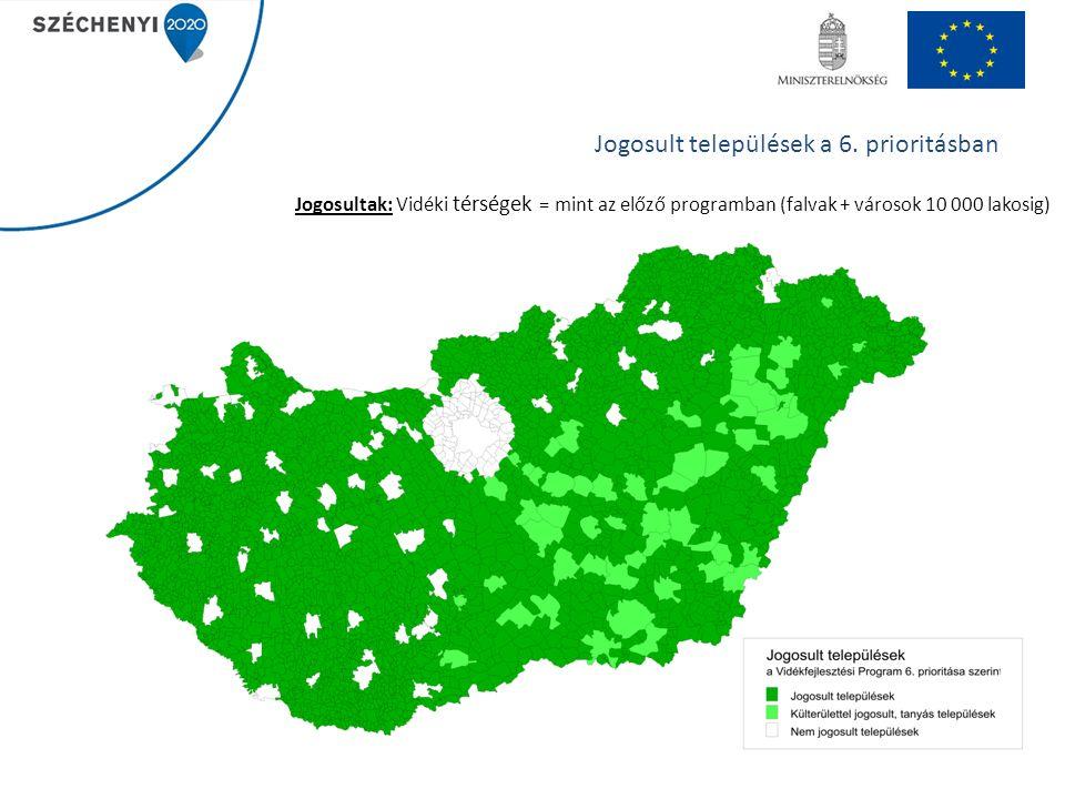 5 Jogosultak: Vidéki térségek = mint az előző programban (falvak + városok 10 000 lakosig) Jogosult települések a 6.