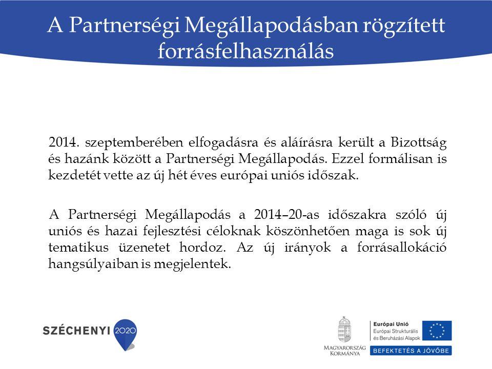 A Partnerségi Megállapodásban rögzített forrásfelhasználás 2014.