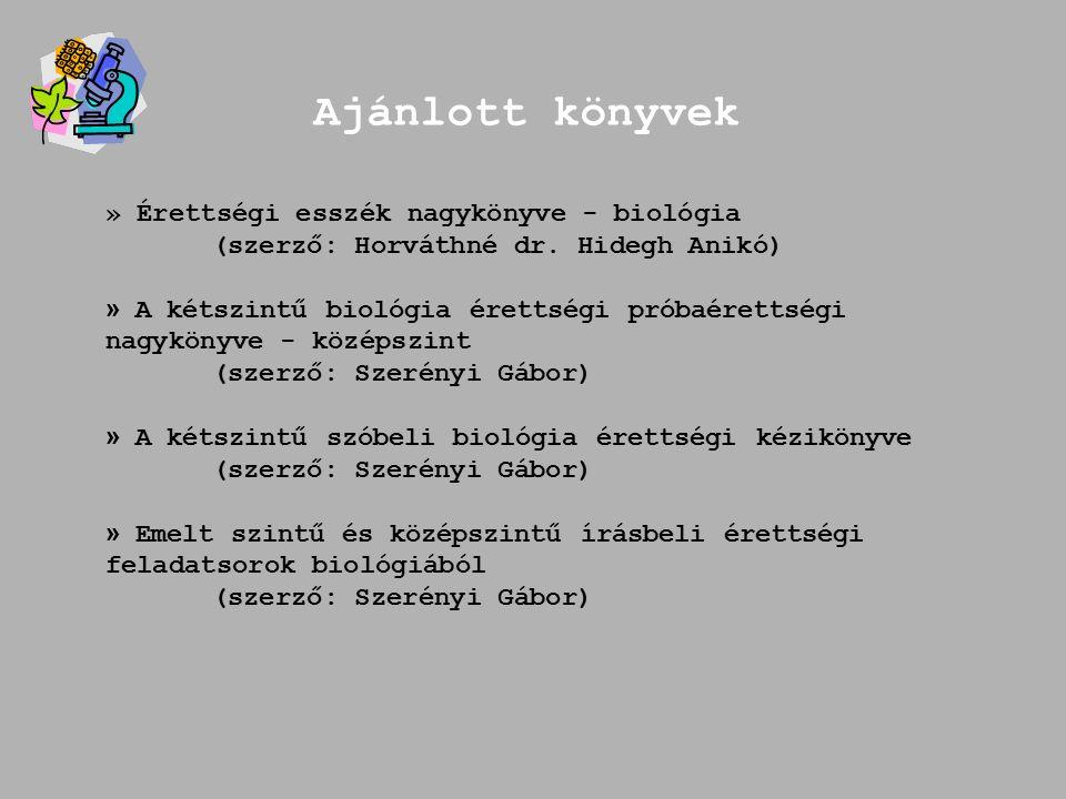 Ajánlott könyvek » Érettségi esszék nagykönyve - biológia (szerző: Horváthné dr.