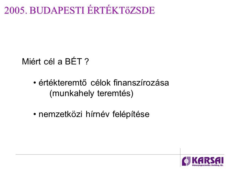 2005. BUDAPESTI ÉRTÉKTőZSDE Miért cél a BÉT .