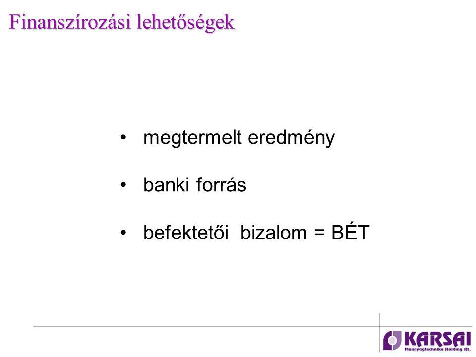 Finanszírozási lehetőségek megtermelt eredmény banki forrás befektetői bizalom = BÉT