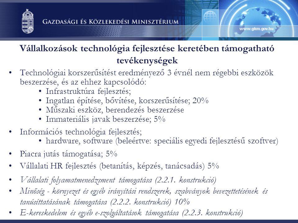 Vállalkozások technológia fejlesztése keretében támogatható tevékenységek Technológiai korszerűsítést eredményező 3 évnél nem régebbi eszközök beszerzése, és az ehhez kapcsolódó: Infrastruktúra fejlesztés; Ingatlan építése, bővítése, korszerűsítése; 20% Műszaki eszköz, berendezés beszerzése Immateriális javak beszerzése; 5% Információs technológia fejlesztés; hardware, software (beleértve: speciális egyedi fejlesztésű szoftver) Piacra jutás támogatása; 5% Vállalati HR fejlesztés (betanítás, képzés, tanácsadás) 5% Vállalati folyamatmenedzsment támogatása (2.2.1.