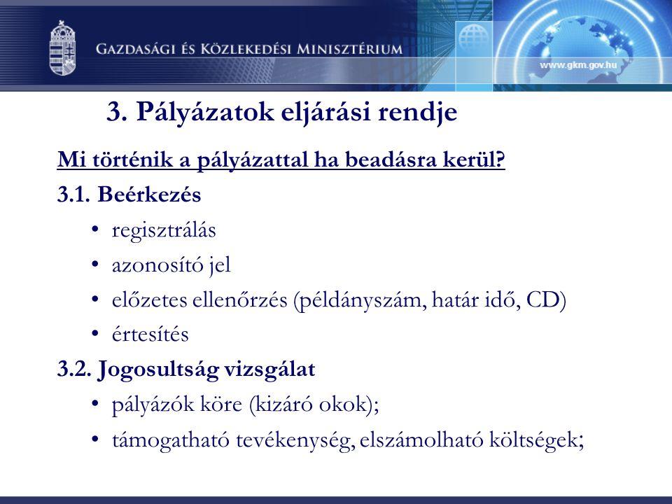 3. Pályázatok eljárási rendje Mi történik a pályázattal ha beadásra kerül.