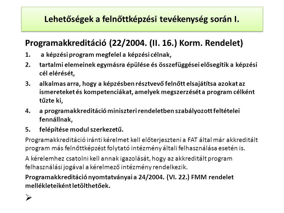 Programakkreditáció (22/2004. (II. 16.) Korm. Rendelet) 1.