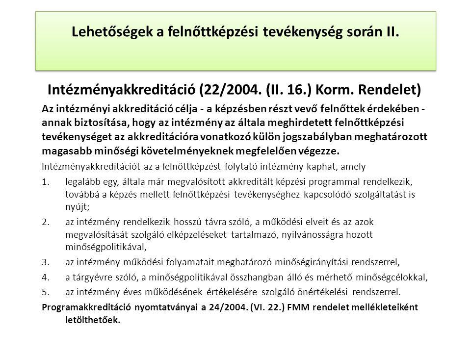 Intézményakkreditáció (22/2004. (II. 16.) Korm.