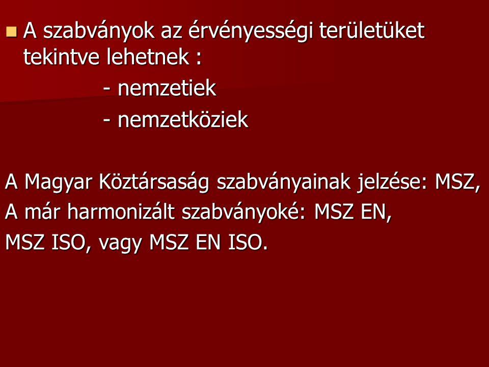 A szabványok az érvényességi területüket tekintve lehetnek : A szabványok az érvényességi területüket tekintve lehetnek : - nemzetiek - nemzetköziek A Magyar Köztársaság szabványainak jelzése: MSZ, A már harmonizált szabványoké: MSZ EN, MSZ ISO, vagy MSZ EN ISO.