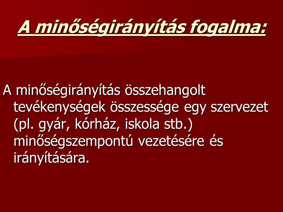 A minőségirányítás fogalma: A minőségirányítás összehangolt tevékenységek összessége egy szervezet (pl.