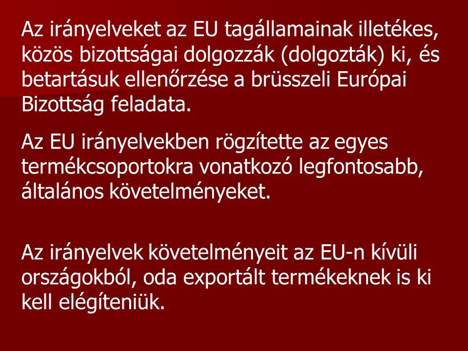 Az irányelveket az EU tagállamainak illetékes, közös bizottságai dolgozzák (dolgozták) ki, és betartásuk ellenőrzése a brüsszeli Európai Bizottság feladata.