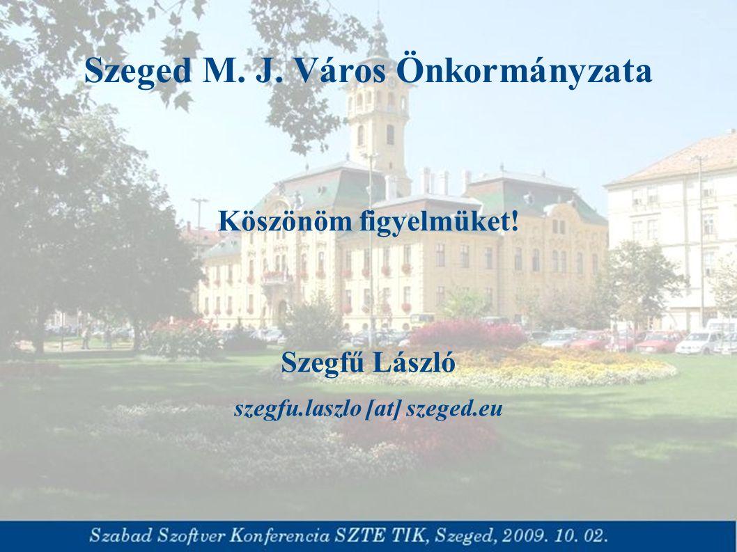 Szeged M. J. Város Önkormányzata Köszönöm figyelmüket! Szegfű László szegfu.laszlo [at] szeged.eu