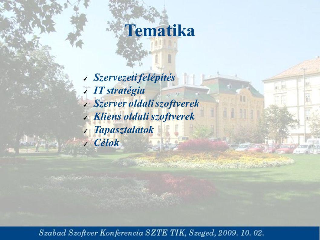 Tematika ✔ Szervezeti felépítés ✔ IT stratégia ✔ Szerver oldali szoftverek ✔ Kliens oldali szoftverek ✔ Tapasztalatok ✔ Célok